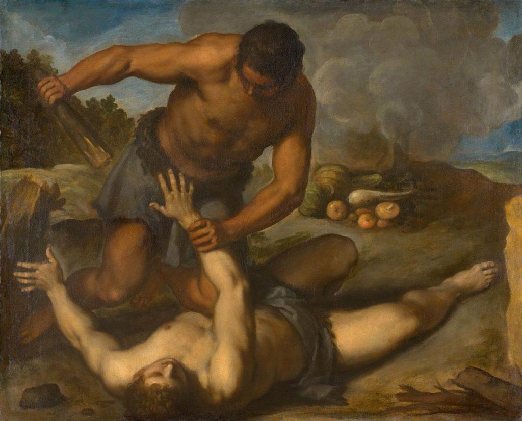 Das Bild zeigt Kain, wie er Abel mit einer Keule tötet. Gemälde von Palma il Giovane.