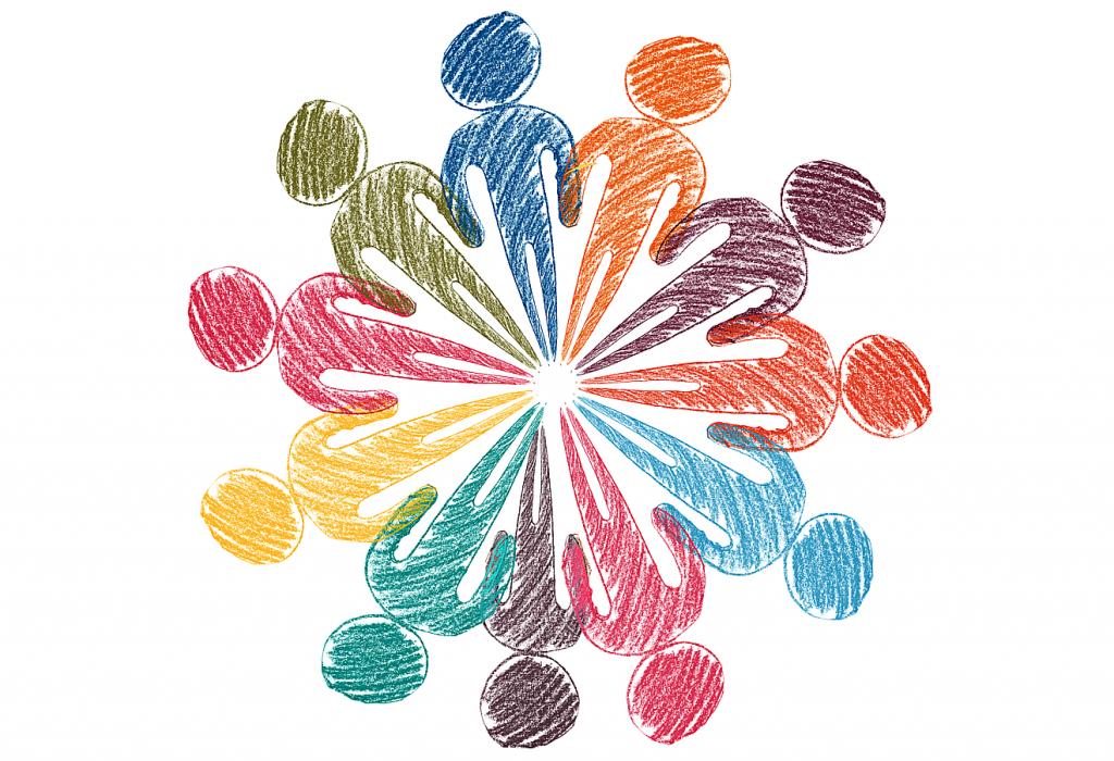 Mit Buntstift gemalte unterschiedlich farbige Männchen, die mit den Füßen um einen kleinen Kreis herumgezeichnet sind und sich an den Händen halten.