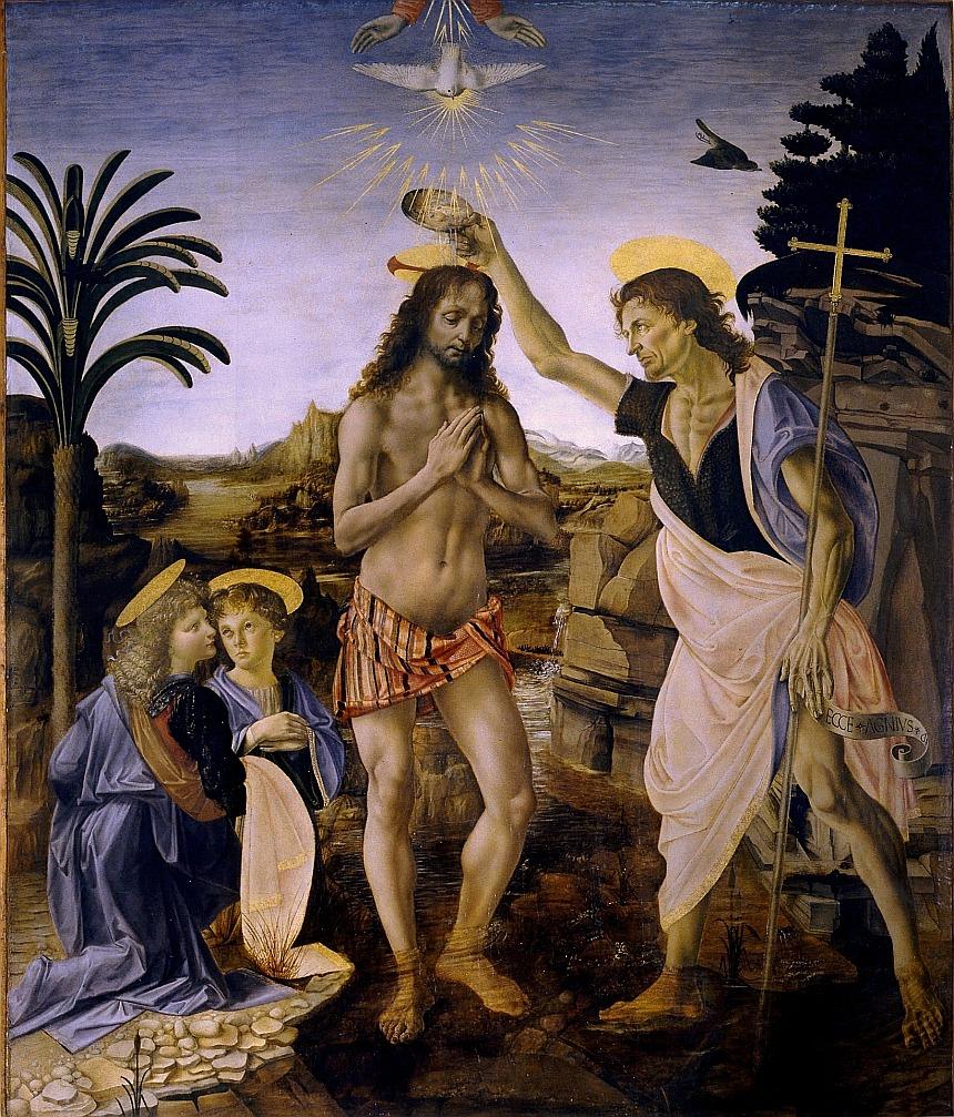 Das Bild ist ein Gemälde von Leonardo da Vinci von der Taufe Jesu durch Johannes den Täufer