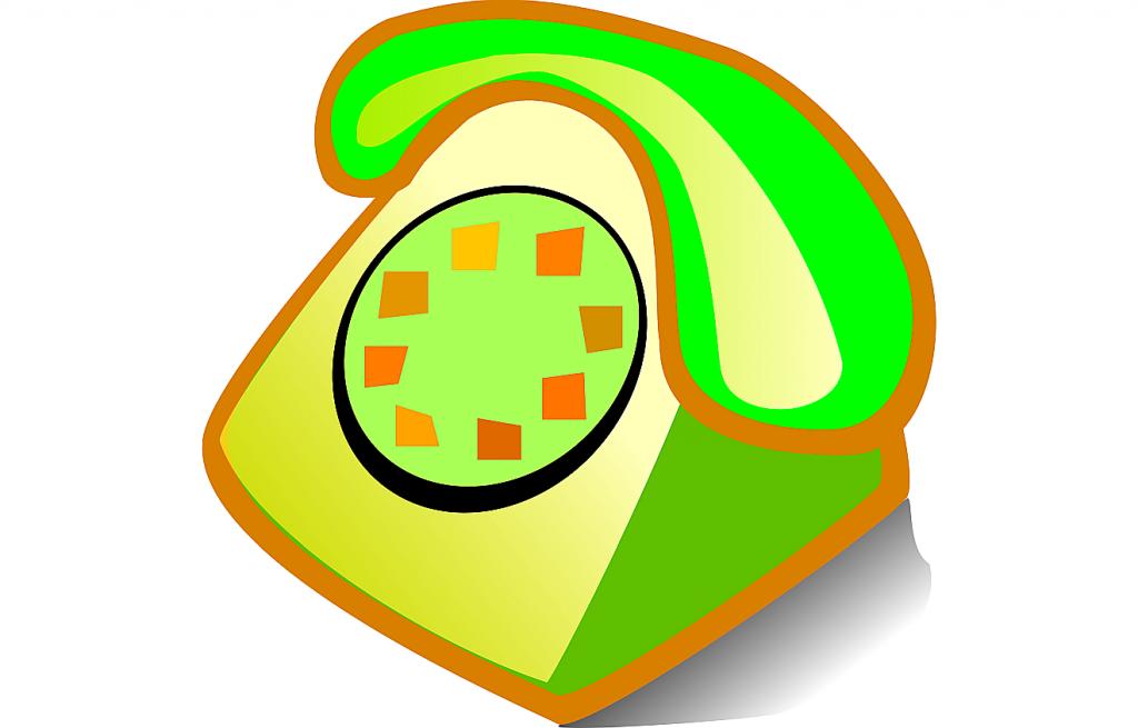 Ein stilisiertes grünes Telefon mit Wählscheibe - als Symbol für die Berufung durch Gott