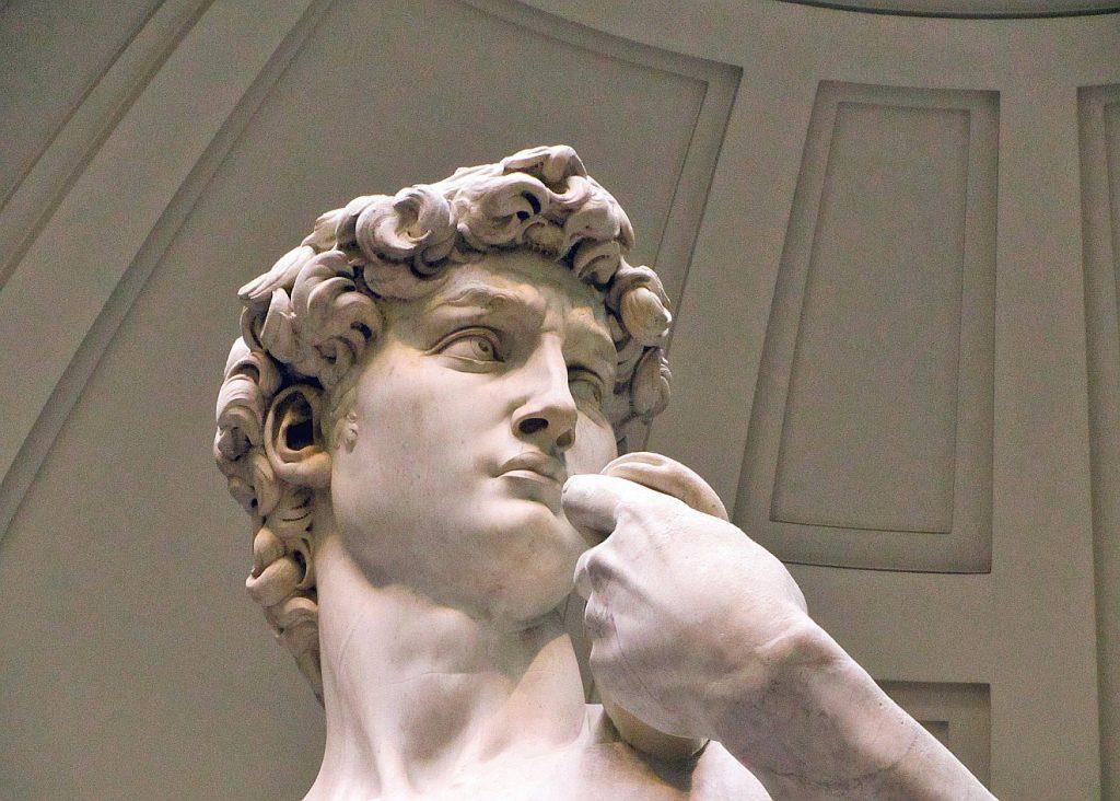 Kopf der Statue des David von Michelangelo in Florenz