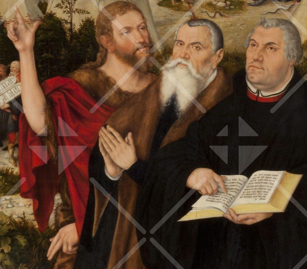 Johannes der Täufer neben Lucas Cranach und Martin Luther