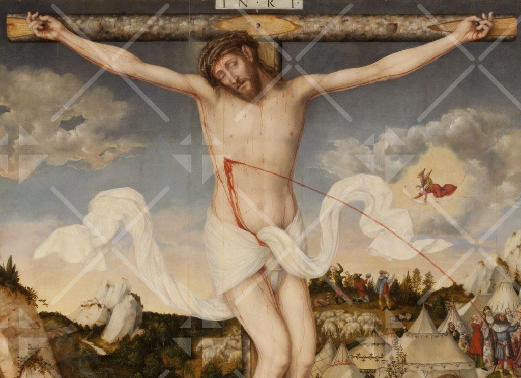 Ein Blutstrahl spritzt aus der Seitenwunde des am Kreuz hängenden Christus (Bildnis von Cranach dem Jüngeren)