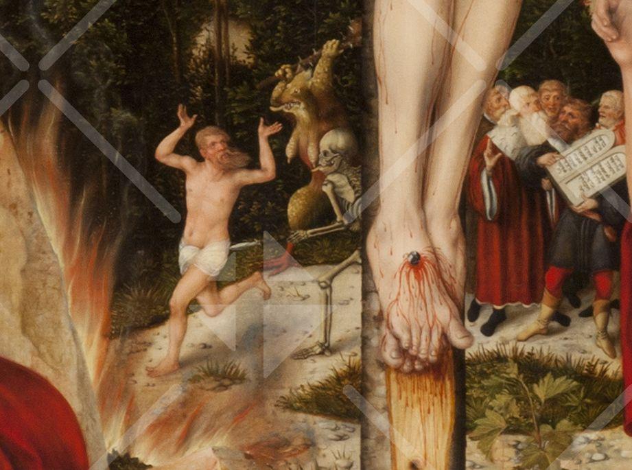 Der alte Adam läuft im Hintergrund des Kreuzes vor Tod und Wollust davon - direkt ins Höllenfeuer - rechts daneben ist Mose mit den Gesetzestafeln zu sehen, die der Mensch aus eigener Kraft nicht befolgen kann.