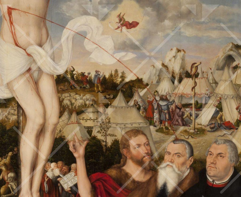 Ein Blutstrahl aus Jesu Seitenwunde spritzt direkt auf den Kopf des Lucas Cranach
