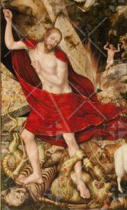 Jesus tötet mit einer Lanze Tod und Teufel