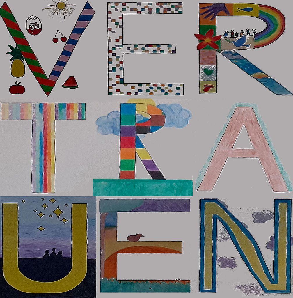 Die Buchstaben des Wortes Vertrauen mit Bildern, die zum Wort passen - und zu Gott, der für Blinde das Höckerige barrierefrei macht!