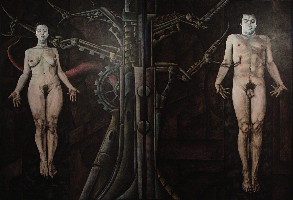"""Das Bild zeigt Adam und Eva, wie sie von einer Maschine erschaffen werden (Illustration zur Buchbesprechung """"Urmatrix"""")"""
