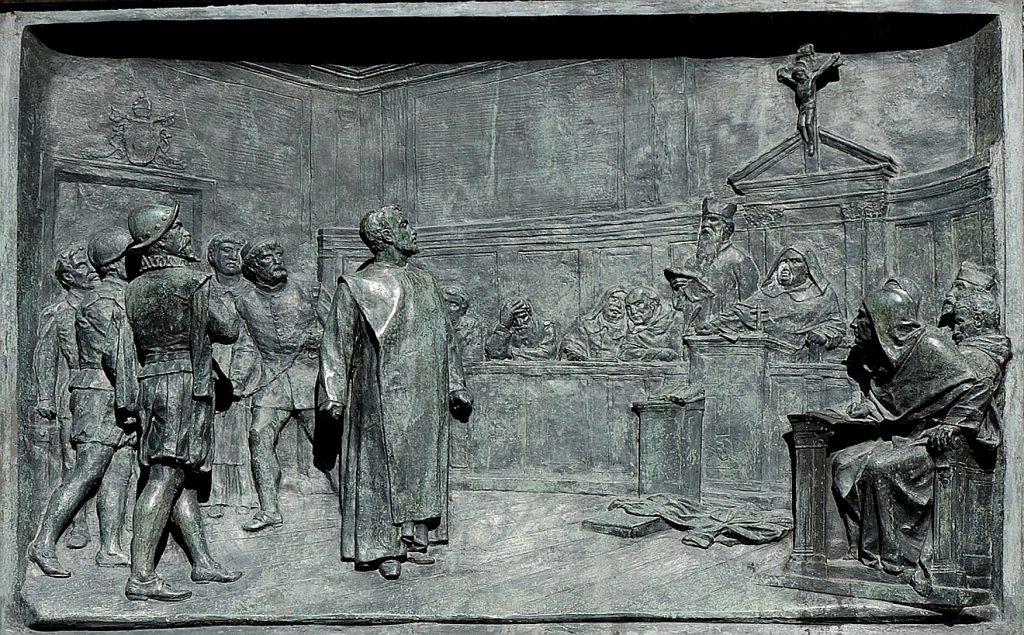 Giordano Bruno steht vor der Römischen Inquisition und wird verurteilt.