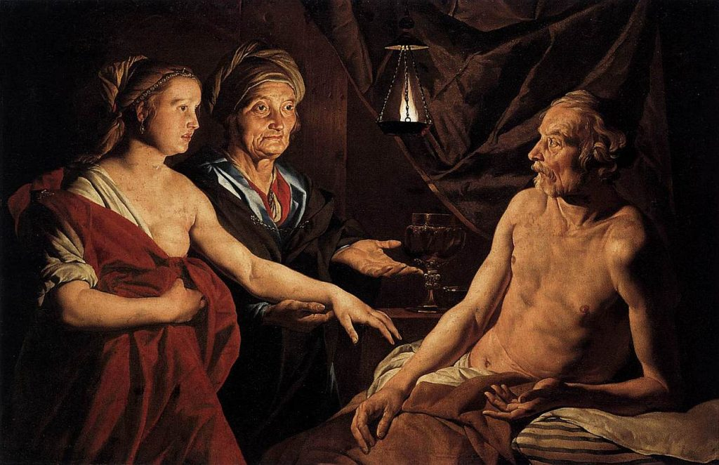 Das Bild zeigt Sara, die ihre Magd Hagar ihrem Mann Abraham zum Beischlaf zuführt, Abraham mit altem ausgemergeltem nacktem Oberkörper, Hagar mit halb entblößter linker Brust, alle mit ernsten Gesichtern, Sara starr zwischen beiden anderen hindurchblickend