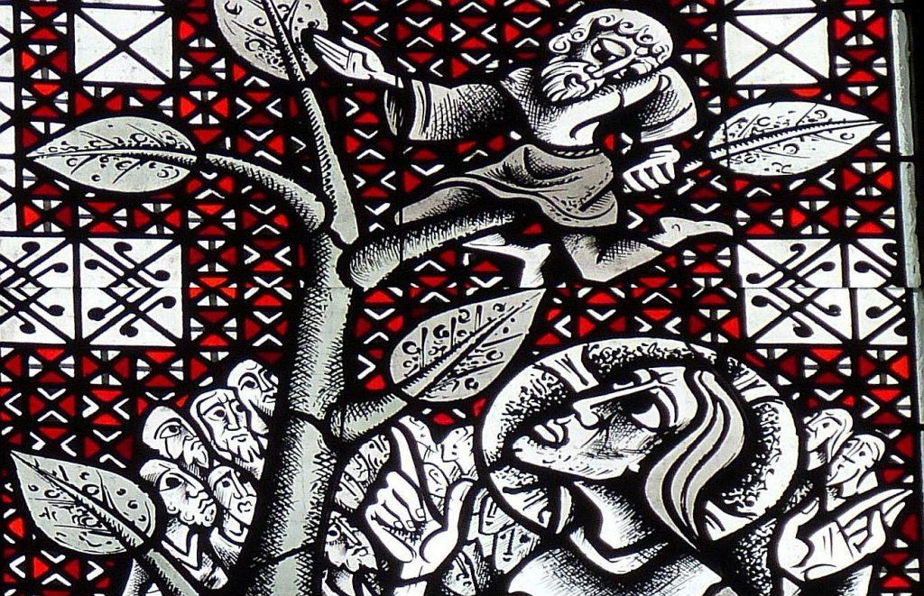 Ausschnitt aus dem obigen Bild: Jesus blickt Zachäus an, der über ihm auf dem Baum sitzt