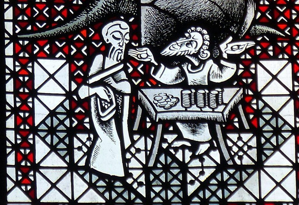 Ausschnitt aus dem obigen Bild: Zachäus sitzt am Wechseltisch mit vor sich gestapeltem ergaunerten Geld