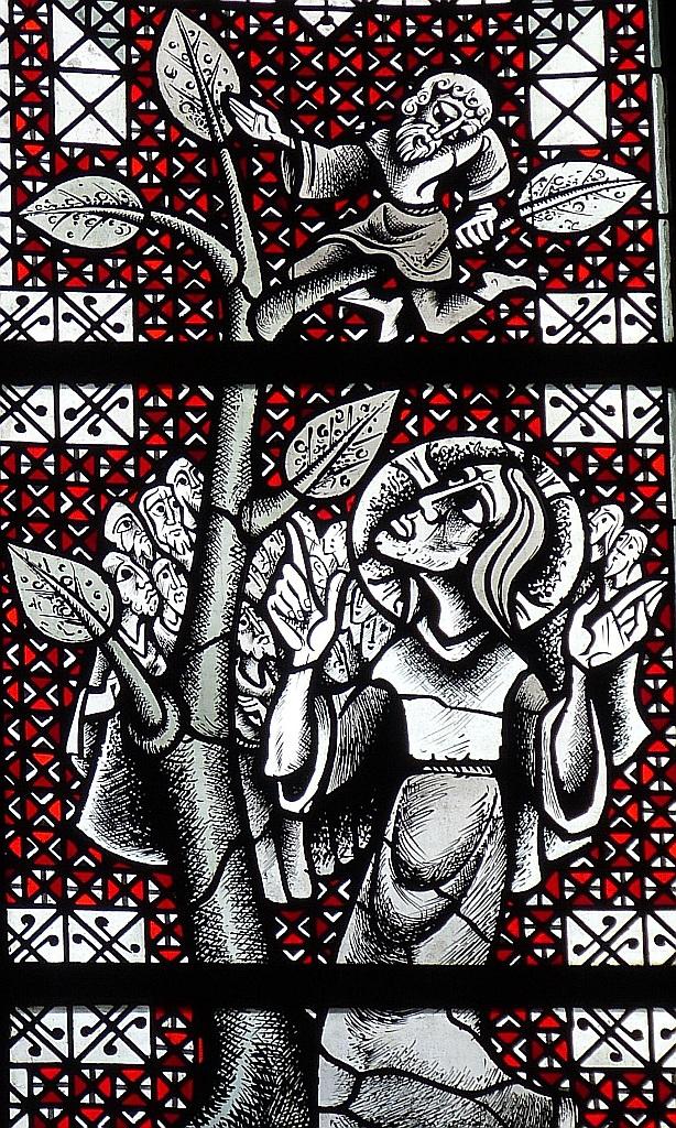 Kirchenfenster oder Mosaik mit Jesus, der zu Zachäus auf dem Baum hinaufblickt
