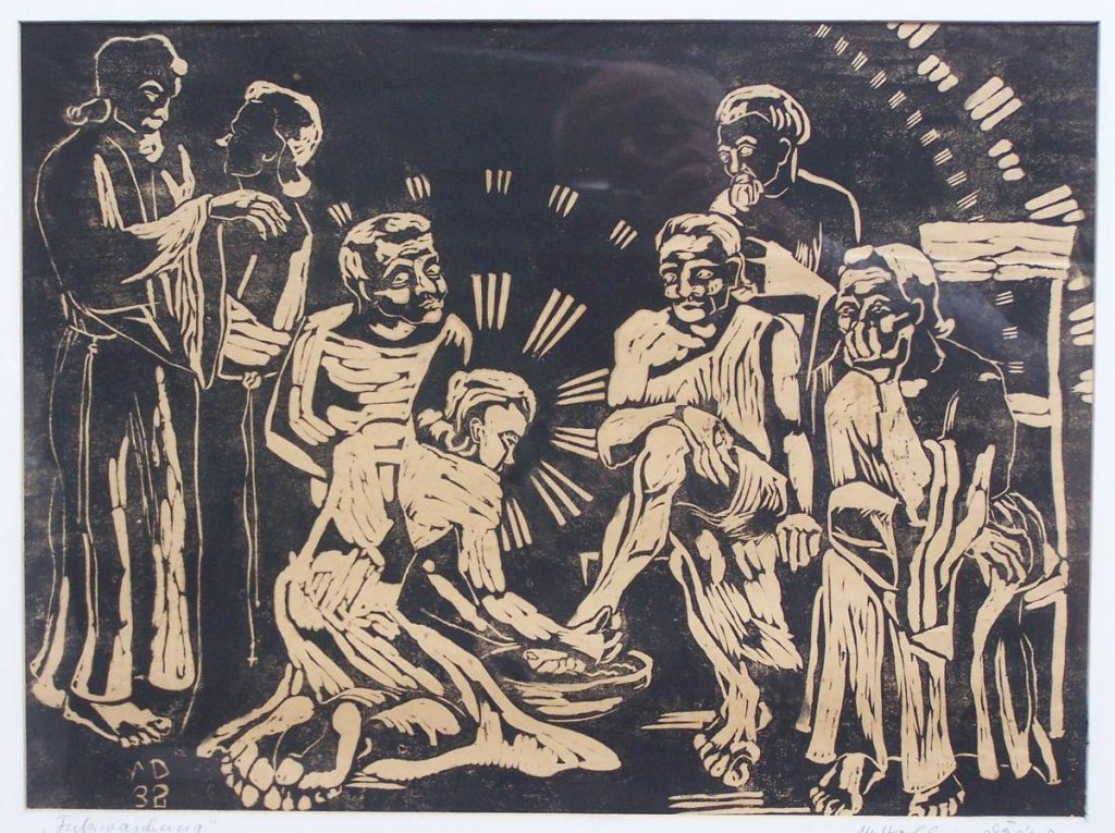A woodcut shows Yeshua washing the feet of his disciples. Two of them stand in the background in a friendly attitude, following the Messiah, showing solidarity.