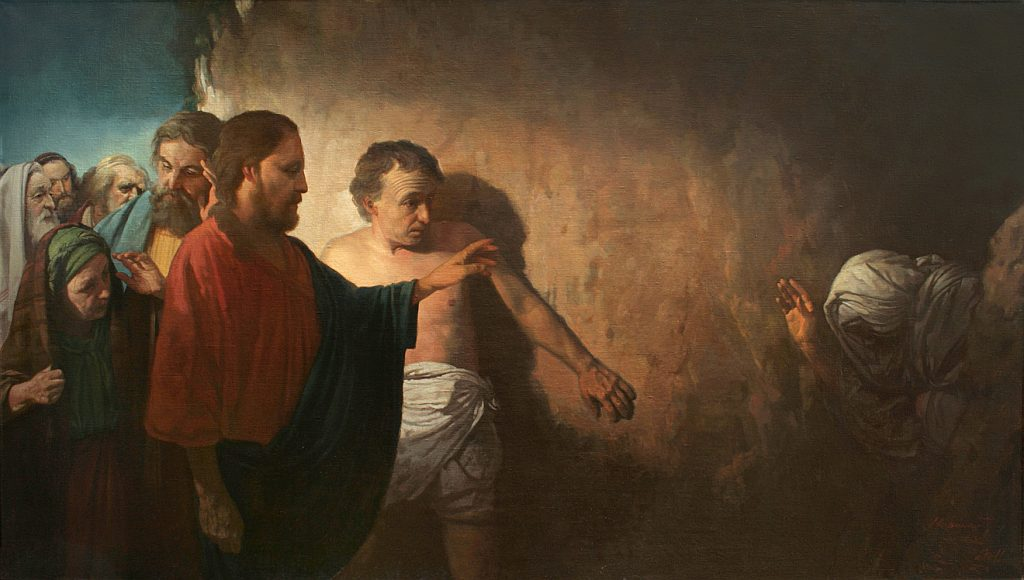 Jesus calls the dead Lazarus from his tomb, but he remains hidden from the Judeans as the Messiah