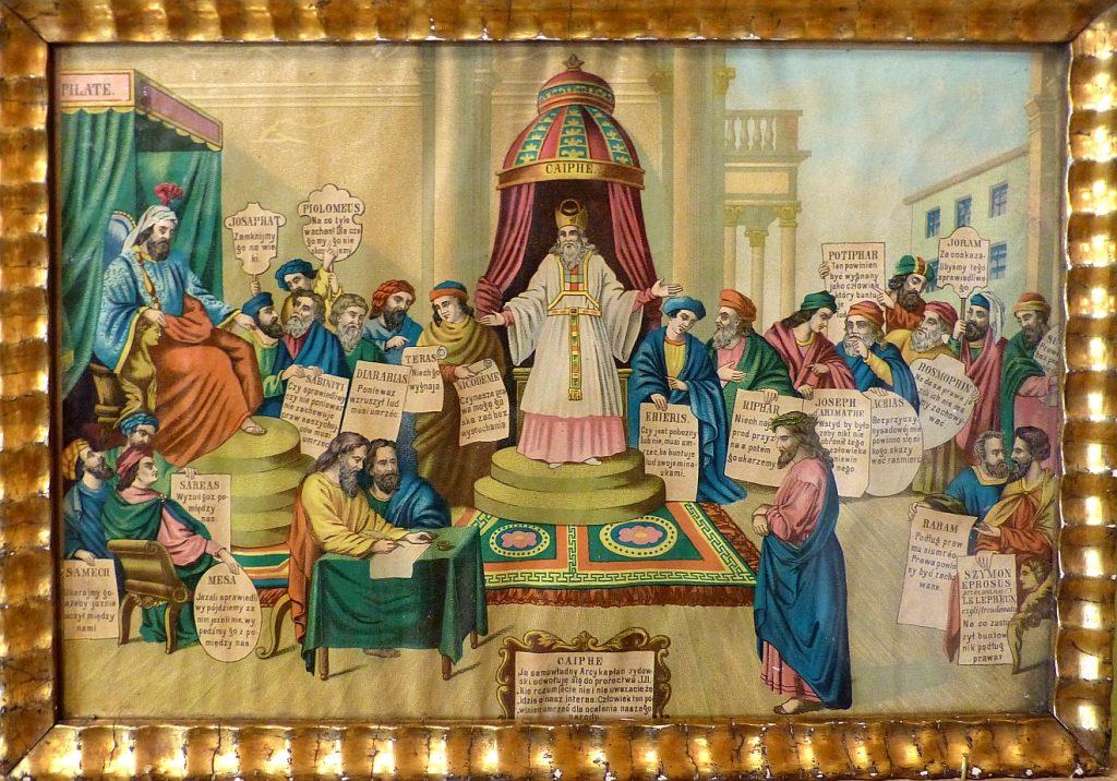 Ein polnisches Heiligenbild mit Christus vor Pilatus und Kaiphas, wobei Kaiphas in der Mitte und Pilatus an der linken Seite sitzt, umgeben von vielen Mitgliedern des Hohen Rates, deren Namen und Haltung zu Jesus auf Polnisch dazu angegeben sind
