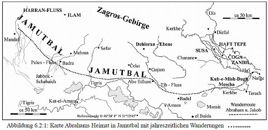 Skizze des Jamutbal, in dem die Wanderungen Abrahams und Jakobs stattfanden