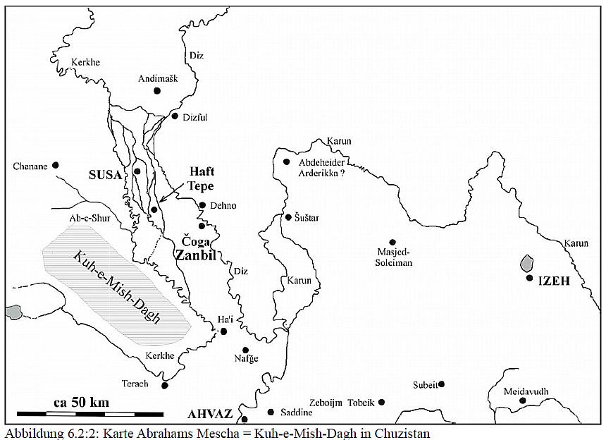 Skizze von Abrahams Heimat am Bergrücken Kuh-e-Mish-Dagh = Mescha