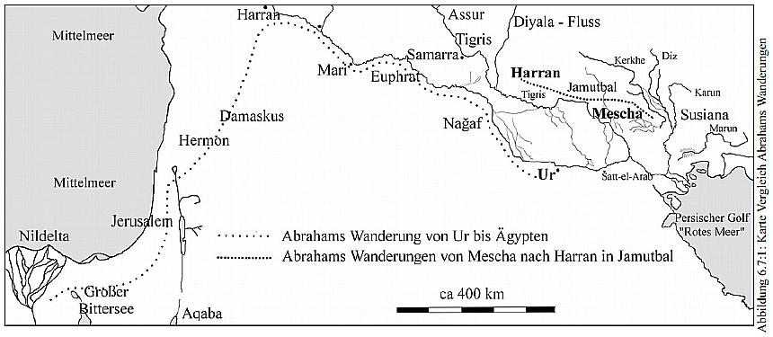 Vergleichsskizze: Abrahams Wanderungen von Ur nach Kanaan oder im Jamutbal