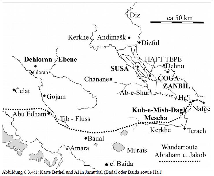 Skizze der Landschaft zwischen Badal und Ha'i