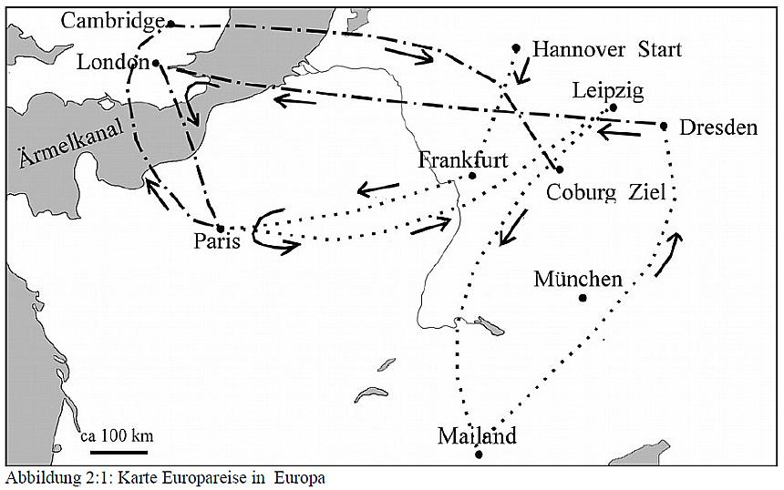 Skizze einer merkwürdigen Europareise, die im Text beschrieben wird