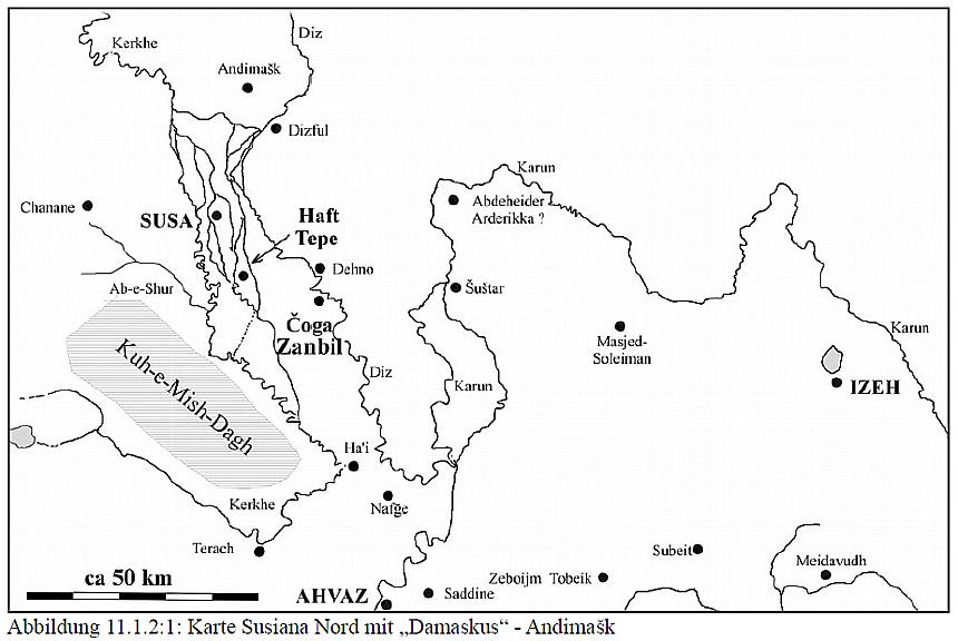 Skizze mit Flüssen in Nord-Chuzistan