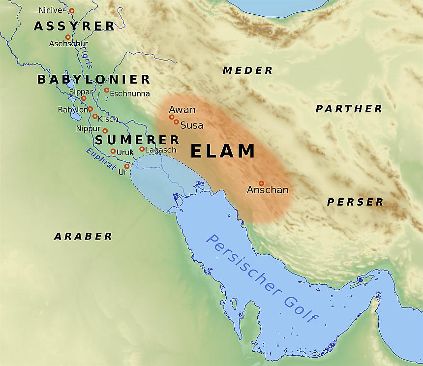 Eine Landkarte von Elam und den umliegenden Ländern in der Antike