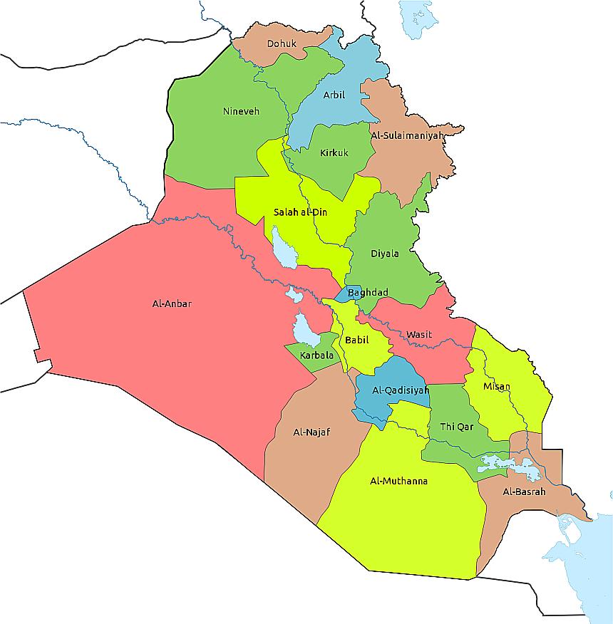 Die Regierungsbezirke des Irak