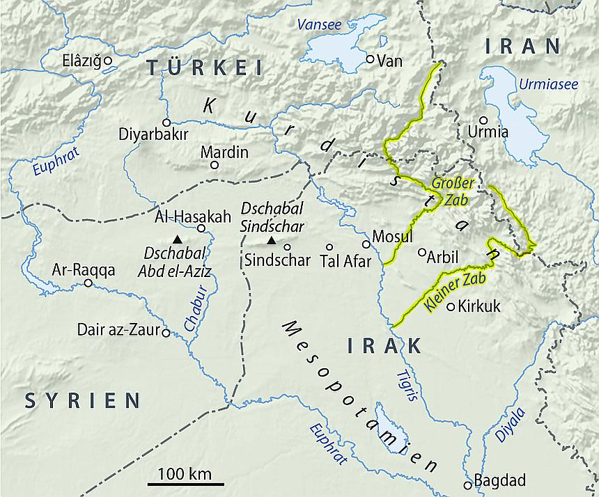 Karte des Irak und der umgebenden Länder mit hervorgehobenen Flussläufen des Kleinen und Großen Zab