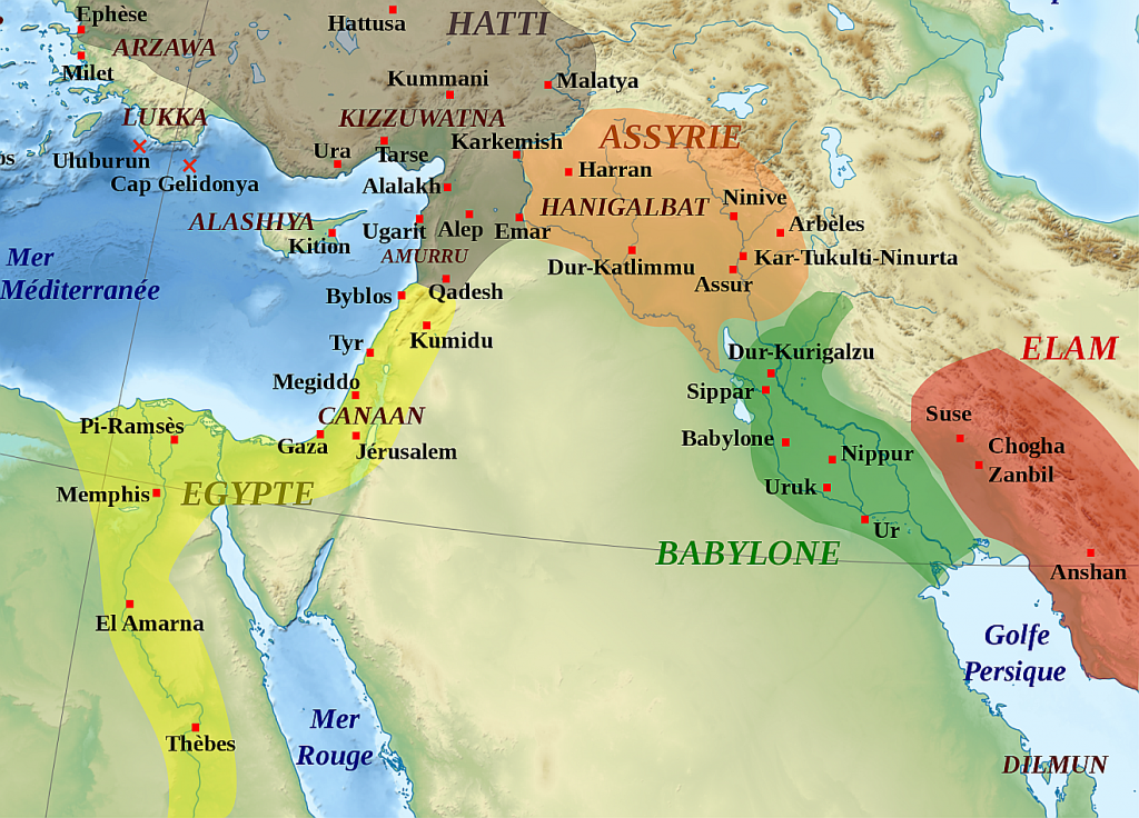 Eine Landkarte des Nahen Ostens von Ägypten bis Elam