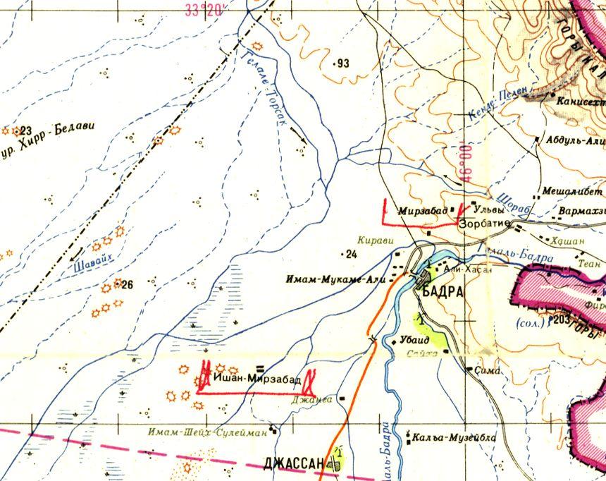 Russische Karte der Gegend um Badra