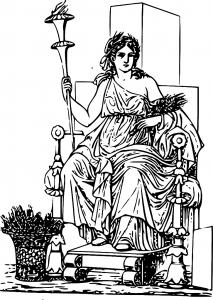 Zeichnung der Göttin Demeter, auf einem Thron sitzend, mit Gerstenbüschel unter dem Arm