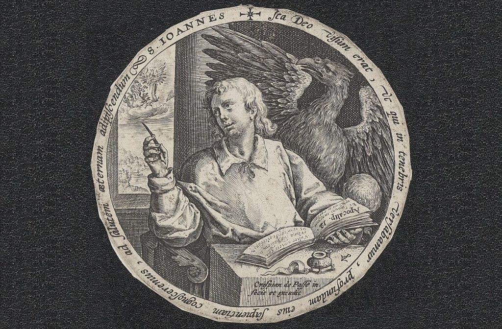 Der Evangelist Johannes mit aufgeschlagenem Buch, im Hintergrund ein Adler